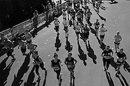 image converted to black and white.  Action from the Cardiff Half Marathon 2016 in Cardiff, South Wales on Sunday 2nd October 2016. this years event had a record of almost 22,000 entries, a mixture of fun runners, elite athletes and club runners.<br /> pic by Andrew Orchard, Andrew Orchard sports photography.