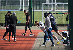 © Licensed to London News Pictures. 04/04/2020. London, UK. People exercising at Paddington Recreation Ground in London, during a pandemic outbreak of the Coronavirus COVID-19 disease. The public have been told they can only leave their homes when absolutely essential, in an attempt to fight the spread of coronavirus COVID-19 disease. Photo credit: Ben Cawthra/LNP