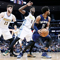 01 February 2016: Denver Nuggets center Jusuf Nurkic (23) and Denver Nuggets guard Emmanuel Mudiay (0) defend on Memphis Grizzlies guard Mike Conley (11) during the Memphis Grizzlies 119-99 victory over the Denver Nuggets, at the Pepsi Center, Denver, Colorado, USA.
