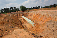 Jun 8, 2013 Smith County, Texas,  Exsposed pipe at the site of an anomaly in the Kesytone XL southern route that Michels, the subcontractor for TransCanada,  is back on field repairing. President Obama will decide if the Northern route of the Keystone XL will be permitted in a couple.