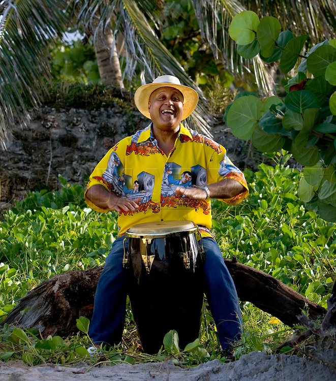 Cuban percussion virtuoso Daniel Ponce, a Miami resident for years, plays the conga drums on Miami Beach.