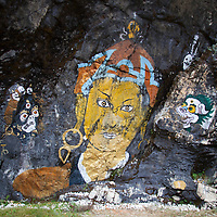 """Asia, Bhutan, Trongsa. Rock Painting Scene from """"Travelers and Magicians"""" movie."""