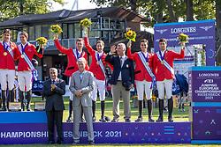 Team Switzerland, Fuchs Martin, Guerdat Steve, Balsiger Bryan, Baumann Elian<br /> European Championship Riesenbeck 2021<br /> © Hippo Foto - Dirk Caremans<br /> 03/09/2021