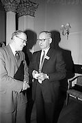 05/05/1965<br /> 05/05/1965<br /> 05 May 1965<br /> Thomas Heiton and Co. Ltd. Reception  to promote stainless steel in manufacturing at the Shelbourne Hotel, Dublin. Pictured at the reception were (l-r):  Mr. Keenan Hall, (Irish Industry) and Mr. E.S. Usher, Director and Manager (iron and steel) Thomas Heiton and Co.. Thomas Heiton and Co. were agents for steel produced by Samuel Fox and Co. Ltd., Sheffield, England.
