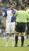 Photo: Aidan Ellis.<br /> Blackburn Rovers v Arsenal. The FA Barclays Premiership. 19/08/2007.<br /> Blavkburn's Ryan Nelsen moans to the referee after some poor first half decisions