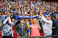 Thatcham Town fans celebrate winning the FA Vase match between Stockton Town and Thatcham Town at Wembley Stadium, London, England on 20 May 2018. Picture by Stephen Wright