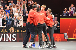 September 22, 2018 - Chicago, Illinois, United States - Members of Team World celebrate after Kevin Anderson's win over N. Djokovic in the 2018 Laver Cup tennis event in Chicago. (Credit Image: © Christopher Levy/ZUMA Wire)