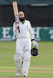 South Africa's Hashim Amla celebrating reaching one hundred and fifty during a Tour Match at the County Ground, Taunton.