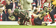 Watford. Great Britain. <br /> Ben KAY, Touching down, during the  Heineken Cup Semi Final; Gloucester Rugby vs Leicester Tigers. Vicarage Road Stadium, Hertfordshire.England.  <br /> <br /> [Mandatory Credit, Peter Spurrier/ Intersport Images].