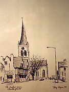 Randon Images of postcard drawings from Ireland, the crooked spire chesterfield Old amateur photos of Dublin streets churches, cars, lanes, roads, shops schools, hospitals
