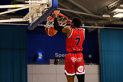Justin Gray of Bristol Flyers slam dunks - Photo mandatory by-line: Robbie Stephenson/JMP - 29/03/2019 - BASKETBALL - English Institute of Sport - Sheffield, England - Sheffield Sharks v Bristol Flyers - British Basketball League Championship