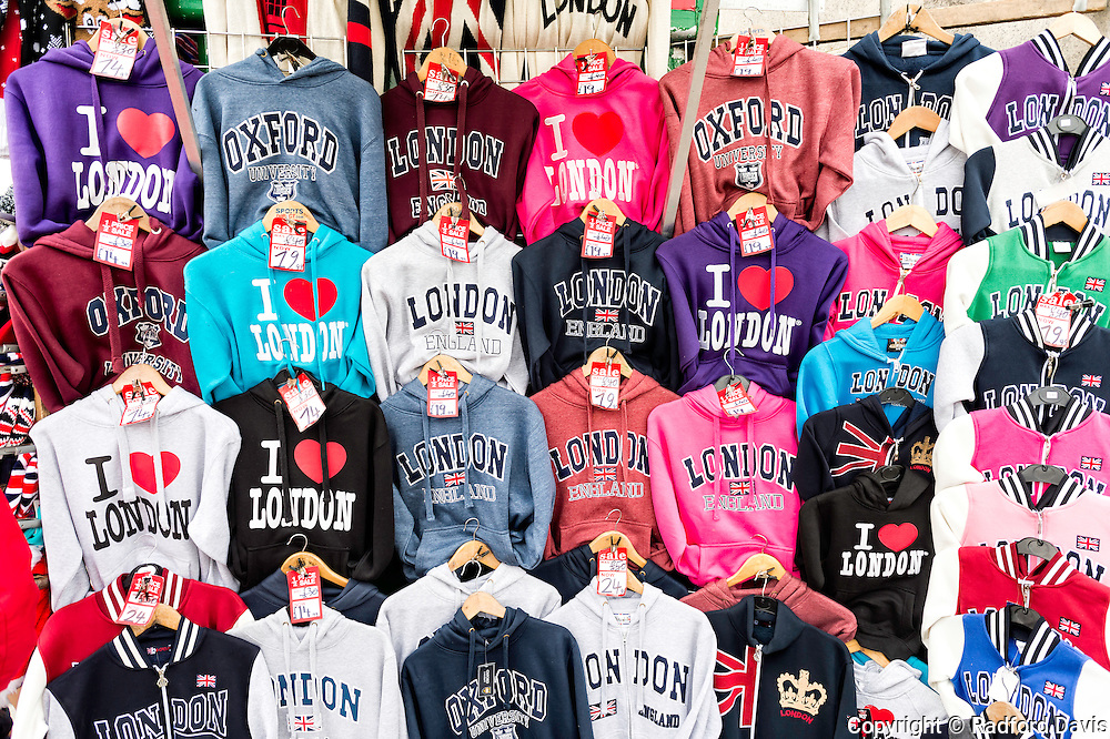 T-shirt and sweat shirt stand in London, UK