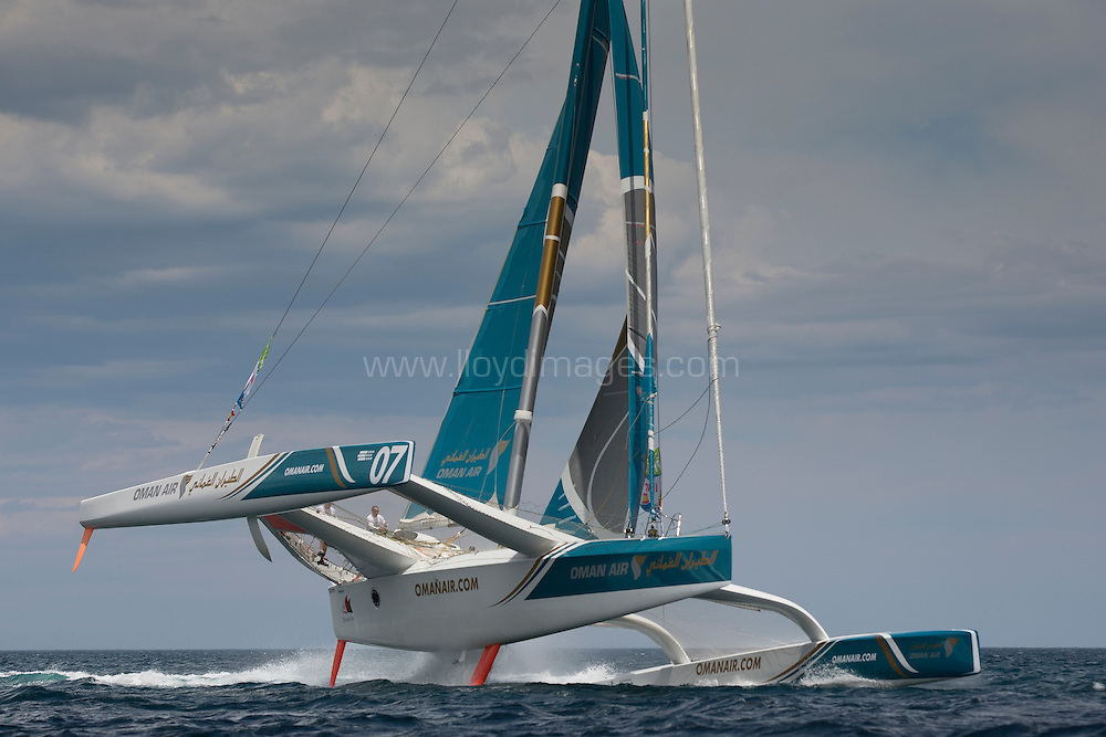La Route des Princes. Valencia. Spain.<br /> Oman Air - Musandam MOD70 skippered by Sidney Gavignet  (FRA) at the start of the first offshore leg from Valencia - Lisbon<br /> Credit: Lloyd Images