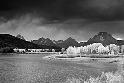 """Black and white of Grand Tetons, clearing storm, and Oxbow Bend in Autumn.<br /> <br /> For production prints or stock photos click the Purchase Print/License Photo Button in upper Right; for Fine Art """"Custom Prints"""" contact Daryl - 208-709-3250 or dh@greater-yellowstone.com"""
