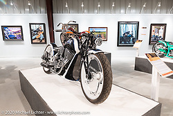 Cory Ness' Indian Digger with it handmade frame, wheels and front end in the Heavy Mettle - Motorcycles and Art with Moxie exhibition at the Sturgis Buffalo Chip. This is the 2020 iteration of the annual Motorcycles as Art series curated and produced by Michael Lichter. Sturgis, SD, USA. Friday, August 7, 2020. Photography ©2020 Michael Lichter.