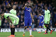 Diego Costa of Chelsea © celebrates after scoring his sides 1st goal to make it 1-0. The Emirates FA Cup, 5th round match, Chelsea v Manchester city at Stamford Bridge in London on Sunday 21st Feb 2016.<br /> pic by John Patrick Fletcher, Andrew Orchard sports photography.