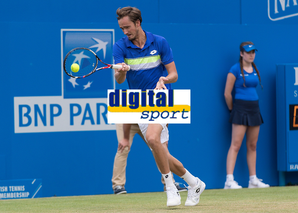 Tennis - 2017 Aegon Championships [Queen's Club Championship] - Day Four, Thursday <br /> <br /> Men's Singles: Round of 16 - Daniil MEDVEDEV (RUS) Vs Thanasi KOKKINAKIS (AUS)<br /> <br /> <br /> Danil Medvedev (RUS) returns serve at Queens Club<br /> <br /> COLORSPORT/DANIEL BEARHAM