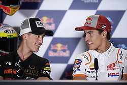 May 2, 2019 - Jerez De La Frontera, Cadiz, Spain - Marc Marquez (93) of Spain and Repsol Honda Team talking Jaume Masia (5) of Spain and Bester Capital Dubai KTM during the press conference before Red Bull GP of Spain at Circuito de Jerez on May 2, 2019 in Jerez de la Frontera, Spain. (Credit Image: © Jose Breton/NurPhoto via ZUMA Press)