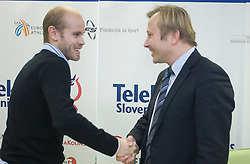 Bostjan Buc and Peter Kukovica when Slovenian athletes and their coaches sign contracts with Athletic federation of Slovenia for year 2009,  in AZS, Ljubljana, Slovenia, on March 2, 2009. (Photo by Vid Ponikvar / Sportida)