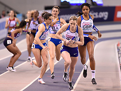 Great Britain's Eilidh Doyle runs the anchor leg to help win silver in the 4x400 relay during day three of the European Indoor Athletics Championships at the Emirates Arena, Glasgow.