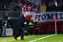 LISBON, Nov. 21, 2018  Head Coach Jerzy Brzeczek of Poland celebrates after Milik's goal during the UEFA Nations League soccer match League A Group 3 between Portugal and Poland in Guimaraes, Portugal on Nov. 20, 2018. The match ended with a 1-1 tie. (Credit Image: © Catarina Morais/Xinhua via ZUMA Wire)