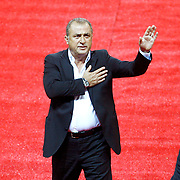 Galatasaray's coach Fatih Terim during their Turkish superleague soccer derby match Galatasaray between Trabzonspor at the AliSamiYen spor kompleksi TT Arena in Istanbul Turkey on Saturday, 18 May 2013. Photo by Aykut AKICI/TURKPIX