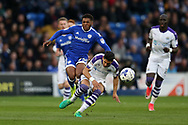Kadeem Harris of Cardiff city is sent flying by a hard tackle from Ayoze Perez of Newcastle Utd. EFL Skybet championship match, Cardiff city v Newcastle Utd at the Cardiff City Stadium in Cardiff, South Wales on Friday 28th April 2017.<br /> pic by Andrew Orchard, Andrew Orchard sports photography.
