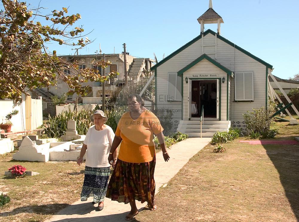 Parishners leave the Wesley Methodist church in Alice Town on the tiny Caribbean island of Bimini, Bahamas.