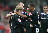 Photo: Rich Eaton.<br /> <br /> Cheltenham Town v Nottingham Forest. Coca Cola League 1. 13/10/2007. Forest's Kris Commons scores late in the first half to make it 2-0 and celebrates with teammates