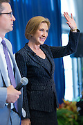 Former CEO and GOP presidential hopeful Carly Fiorina arrives for the National Security Forum with the Americans for Peace, Prosperity and Security at the Citadel Military College September 22, 2015 in Charleston, South Carolina.
