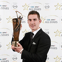 8 November 2013; Clare hurler Colm Galvin with his 2013 GAA GPA All-Star award, sponsored by Opel, at the 2013 GAA GPA All-Star awards in Croke Park, Dublin. Picture credit: Paul Mohan / SPORTSFILE *** NO REPRODUCTION FEE ***