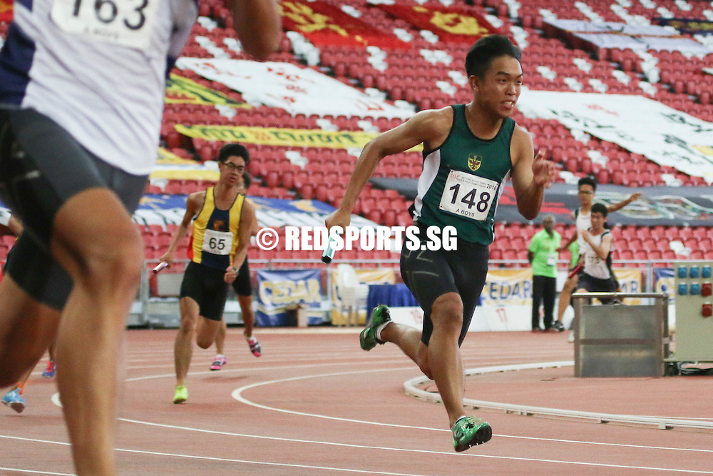 National Stadium, Friday, April 29, 2016 — The Raffles Institution (RI) quartet of Joshua Yap, Ringo Han, Ryan James Tan and Prem Sathiamoorthy clocked 43.34 seconds to claim the A Division boys' 4x100m relay gold at the 57th National Schools Track and Field Championships. <br /> <br /> Catholic Junior College (CJC) finished a mere 0.1 seconds behind (43.44s) while St. Andrew's Junior College (SAJC) finished third in 43.74s.