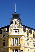 Decorative colonial style roof of the Hotel Plaza. Plaza Muñoz Gamero,  Punta Arenas, Chile. 15Feb13