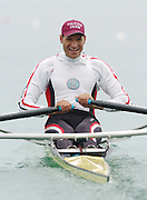 FISA World Cup Rowing Munich Germany..27/05/2004..Thursday morning opening heats...EGY M1X Aly Aly Ibrahim.. [Mandatory Credit: Peter Spurrier: Intersport Images].