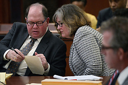 May 10, 2017 - Chaska, MN, USA - Attorneys Alan Silver and Robin Williams consult as they work on behalf of L. Londell McMillan on Wednesday, May 10, 2017. First Judicial District Judge Kevin W. Eide oversaw a hearing on whether to quash a subpoena for McMillan in the Prince estate dispute, along with other issues of the estate. (Credit Image: © Richard Tsong-Taatarii/TNS via ZUMA Wire)