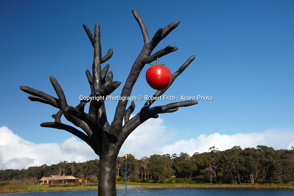 """Laurance Winery cellar door with """"The Garden of Eden"""" and """"Free as a Bird"""" sculptures"""