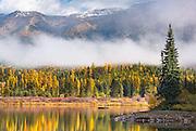 Fall colors on Rainy Lake, Montana.