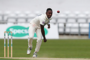 Fidel Edwards of Hampshire bowling during the opening day of the Specsavers County Champ Div 1 match between Yorkshire County Cricket Club and Hampshire County Cricket Club at Headingley Stadium, Headingley, United Kingdom on 27 May 2019.