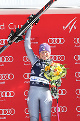 27.01.2018, Lenzerheide, SUI, FIS Weltcup Ski Alpin, Lenzerheide, Riesenslalom, Damen, Flower Zeremonie, im Bild Tessa Worley (FRA) // Tessa Worley of France during the Flowers ceremony for the ladie's Giant Slalom of FIS Ski Alpine World Cup in Lenzerheide, Austria on 2018/01/27. EXPA Pictures © 2018, PhotoCredit: EXPA/ Sammy Minkoff<br /> <br /> *****ATTENTION - OUT of GER*****