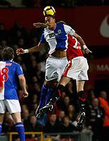Photo: Steve Bond/Richard Lane Photography. Manchester United v Blackburn Rovers. Barclays Premiership 2009/10. 31/10/2009. Steven Nzoni (R) and Jonny Evans in the air