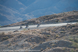 Cannonballers Frank Westfall, Tanner Whitton and Fred Wacker ride up the steep mountain pass just out of Palm Desert on the Palms to Pines Scenic Byway on the last day of the Motorcycle Cannonball Race of the Century. Stage-15 ride from Palm Desert, CA to Carlsbad, CA. USA. Sunday September 25, 2016. Photography ©2016 Michael Lichter.
