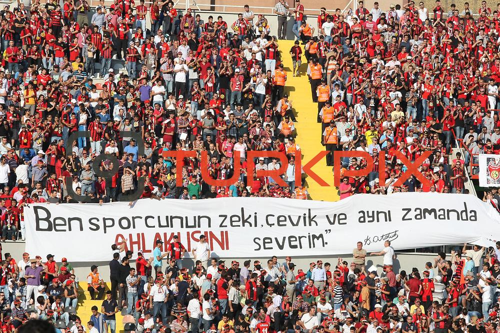 Eskisehirspor's supporters during the Turkish superleague soccer match Eskisehirspor between Besiktas at Eskisehir Ataturk Stadium in Eskisehir Turkey on Saturday, 10 September 2011. Photo by TURKPIX