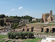 Area of ruins near the Arch of Constantine in Rome. It is positioned between the Collosseum and the Palatine Hill.