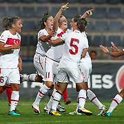 Turkey's players celebrate goal during their UEFA 2013 Woman's Euro Qualifying Group Stage Group 2 soccer match Turkey betwen Spain at Kasimpasa Recep Tayyip Erdogan stadium in Istanbul September 17, 2011. Photo by TURKPIX