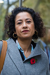© Licensed to London News Pictures. 05/11/2019. London, UK. Television presenter and journalist, Samira Ahmed arrives at the Central London Employment Tribunal to attend an equal pay case hearing against the BBC. Samira Ahmed, who presents Newswatch on BBC One and Radio 4's Front Row claims she was paid less than male colleagues for doing equivalent work under the Equal Pay Act. Photo credit: Vickie Flores/LNP