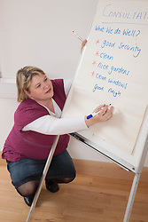 Consultation leader with flipchart.