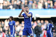 Gary Cahill of Chelsea applauds the Chelsea fans after the final whistle. Premier league match, Chelsea v Arsenal at Stamford Bridge in London on Saturday 4th February 2017.<br /> pic by John Patrick Fletcher, Andrew Orchard sports photography.
