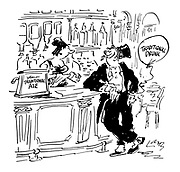 (A 'traditional drunk' in top hat and tail suit waits at a pub counter)