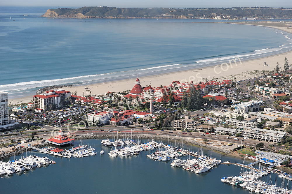 Aerial Photo.<br /> <br /> Hotel Del with Glorietta Bay in foreground and Point Loma in the background.