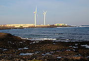 Wind turbines and desalination plant at Corralejo, Fuerteventura, Canary Islands, Spain